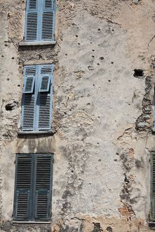 Free Bullet Holes Covering A House Stock Images - 20043084