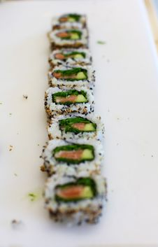 Free Sushi Roll Cut In Pieces Stock Photo - 20043110