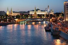 Russia, Moscow, Night View Stock Images