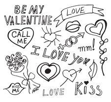 Free Set Of Love Doodles Stock Photo - 20045640