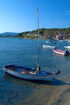 Boats Near Ouranopolis, Athos, Chalkidiki, Greece Royalty Free Stock Photos