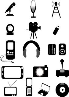 Free Media Icons Royalty Free Stock Photography - 20046557