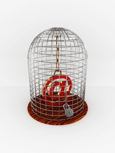 Bird Cage With Sign At Royalty Free Stock Photo