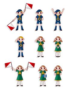 Free Cartoon Boy/girl Scout Icon Set Stock Images - 20048924