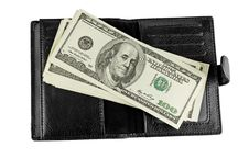 Free Black Leather Wallet With Money Royalty Free Stock Images - 20049259