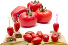 Tomato On Spit Stock Photo