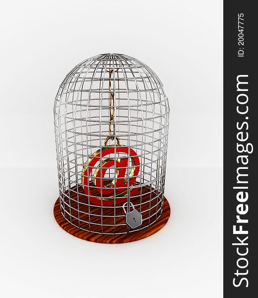 Bird cage with sign at