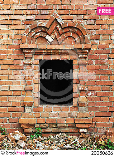 Vintage window in ancient monastery Stock Photo