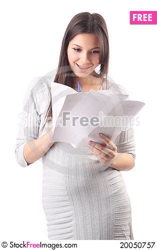 Young woman hold pages of paper. Paperworker Stock Photo