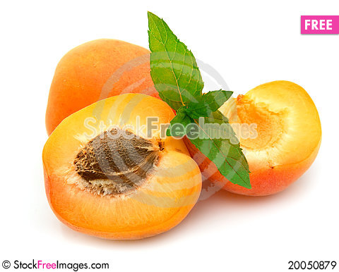 Ripe apricots with mint Stock Photo
