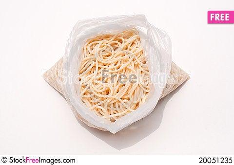 Spaghetti in a bag Stock Photo
