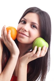Young Woman With  Apple And Orange. Isolated Royalty Free Stock Image