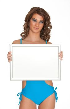 Free Women Whit Sign Royalty Free Stock Photography - 20051287