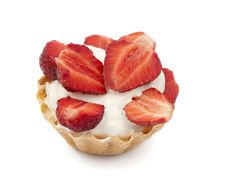 Free Strawberries And Cream In A Basket Stock Photography - 20051852