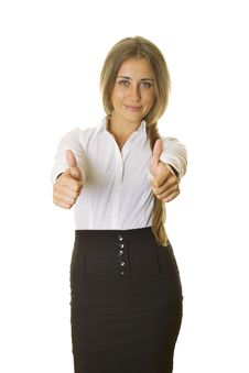 Young Business Woman Showing Thumbs Up Royalty Free Stock Photography