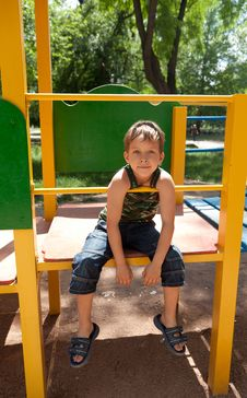 Free Cute Young Boy On Playground Royalty Free Stock Images - 20053149