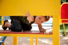 Free Cute Young Boy On Playground Stock Photography - 20053452