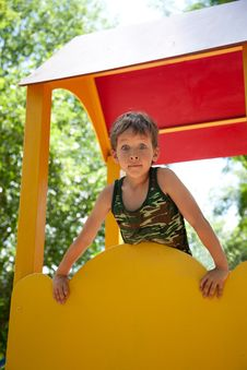 Free Cute Young Boy On Playground Royalty Free Stock Photos - 20053478