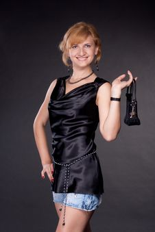 Free The Girl, Dressed In Black With A Bag Stock Photos - 20054433