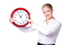 Free Happy Woman With Clock Royalty Free Stock Photos - 20054478