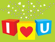 Free I Love U Sparkling Cubes Royalty Free Stock Photo - 20054925