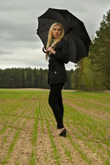 Beautiful Blondy Girl With Umbrella Royalty Free Stock Image