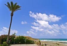 Beach Of Mediterranean Sea, Haifa, Israel Royalty Free Stock Image