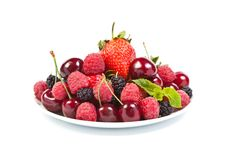 Free Juicy Berries On White Stock Photography - 20057142