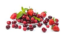 Free Juicy Berries On White Royalty Free Stock Images - 20057149