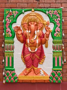Free Standing Ganesh Concrete Carving Stock Image - 20057321