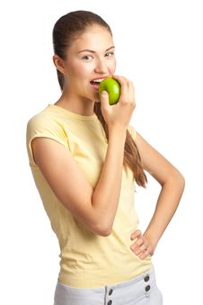 Free Woman Eating Green Apple Royalty Free Stock Photos - 20057928