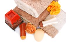 Free Towels And Spa Set Royalty Free Stock Photography - 20058357