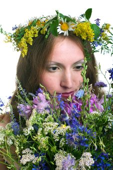 Free Women With Floral Wreath Stock Images - 20058374