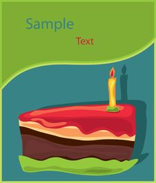 Free Piece Of Birthday Cake With Candle Stock Photography - 20058832