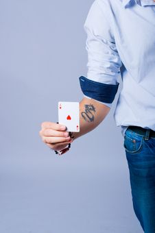 Poker Player With An Ace Of Heart In His Hand Royalty Free Stock Photo