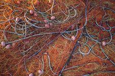 Pile Orange Fishing Net
