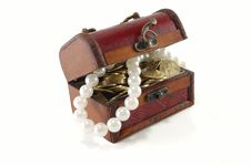 Chest With Coins And Large Pearls Stock Photo