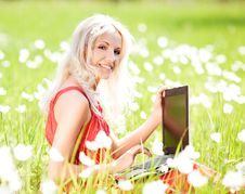 Free Woman With A Laptop Stock Image - 20060271