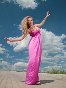 Free Woman In A Pink Dress Royalty Free Stock Images - 20062579