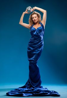 Free Young Woman In A Blue Dress Royalty Free Stock Image - 20062896