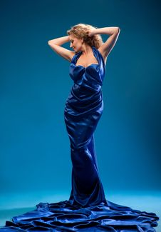 Free Young Woman In A Blue Dress Stock Photo - 20062900