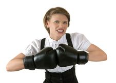 Free The Dissatisfied Girl In Boxing Gloves Stock Photos - 20063143