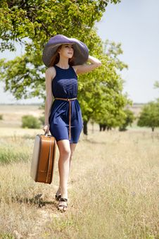 Free Lonely Girl With Suitcase At Countryside. Royalty Free Stock Image - 20063726