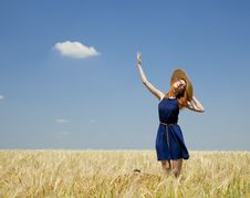 Free Redhead Girl At Spring Wheat Field. Royalty Free Stock Image - 20063756