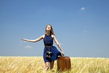 Free Girl With Suitcase At Spring Wheat Field. Royalty Free Stock Images - 20063789
