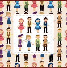 Cartoon Waiter And Waitress Card Stock Images