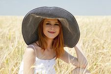 Free Girl At Spring Wheat Field. Stock Image - 20063811