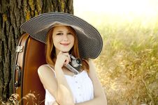 Free Girl Sitting Near Tree With Vintage Camera. Royalty Free Stock Image - 20063866