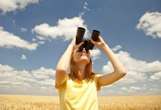 Free Girl With Binocular Watching In Sky. Stock Photos - 20063973