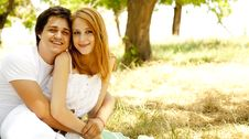 Free Beautiful Couple At Park. Royalty Free Stock Photography - 20064347